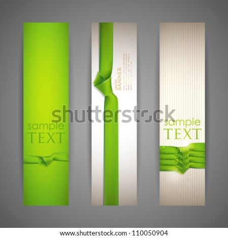 set of banners with green ribbons - stock vector