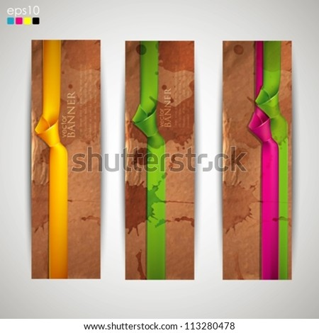 set of banners with grunge cardboard texture and multicolored ribbons - stock vector