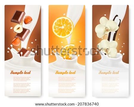 Set of banners with hazelnuts, chocolate, oranges and vanilla falling into milk splashes. Vector. - stock vector