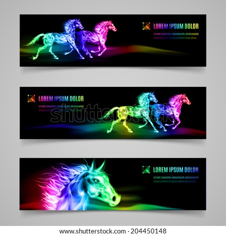 Set of banners with horses in multicolored flame - stock vector