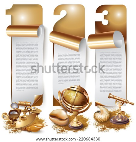 Set of banners with navigation tools and shells, isolated on white background - stock vector
