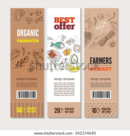 Set of banners with organic vegetables in hand drawn style. Perfect design for farm market advertising and bio product business. Modern business identity for bio products and agricultural industry. - stock vector