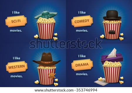 Set of banners with popcorn basket and different elements from different types of movies. Sci fi  with spaceship. Comedy - hat, mustache, Western - cowboy hat, sheriff star. Drama - napkin box. vector - stock vector