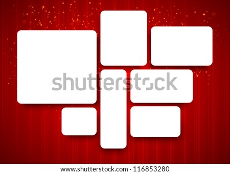 Set of banners with realistic shadows on red christmas background. Vector illustration. - stock vector