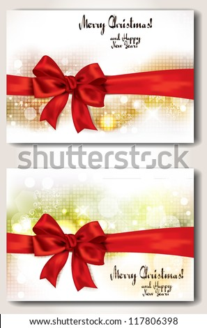 set of banners with red ribbons - stock vector