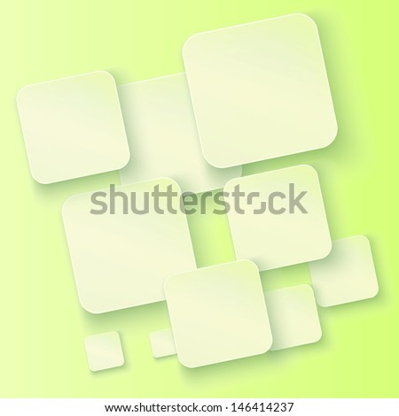 Set of banners with shadows on a green background