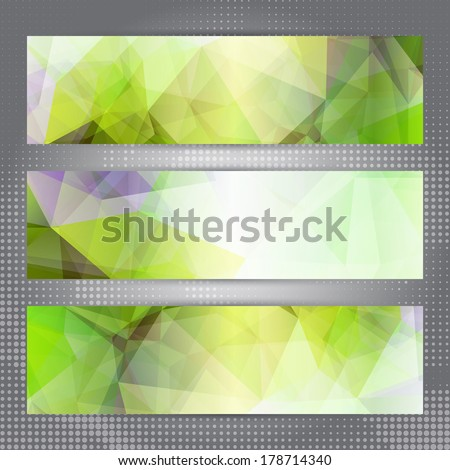Set of banners with shining green abstract geometric polygonal pattern - stock vector