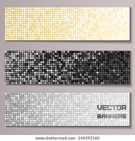 Set of banners with shiny metallic paillettes. Silver, golden, black background. Eps10 vector illustration - stock vector