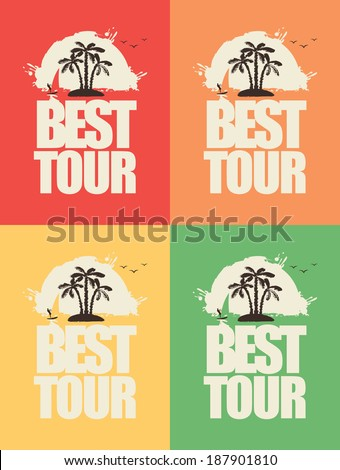 set of banners with the sea and the inscription Best Tours - stock vector