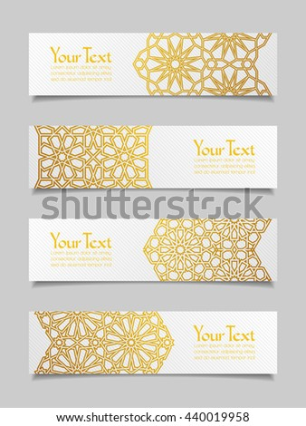 Set of banners with traditional ornament. Vector illustration. - stock vector