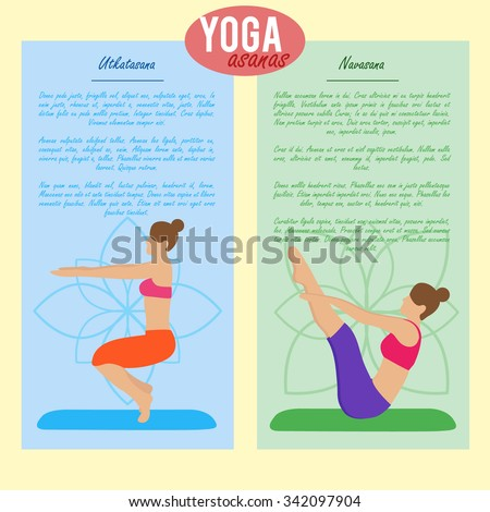 Set of banners with yoga illustration. Yoga set. Yoga asanas and their description. Girl does yoga exercises. Healthy lifestyle. Templates for spa center or yoga studios. Vector illustration - stock vector