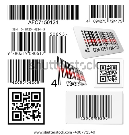 Set of bar codes and qr codes with labels