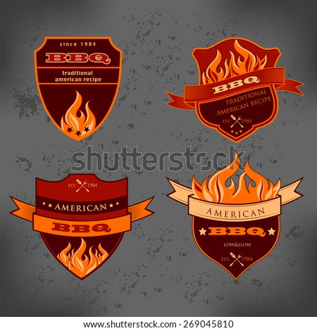 Set of Barbecue BBQ logo, stamp, retro poster, food menu design  - stock vector