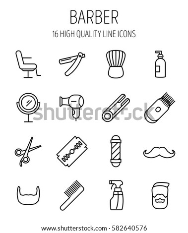 Set Barber Modern Thin Line Style Stock Vector Royalty Free