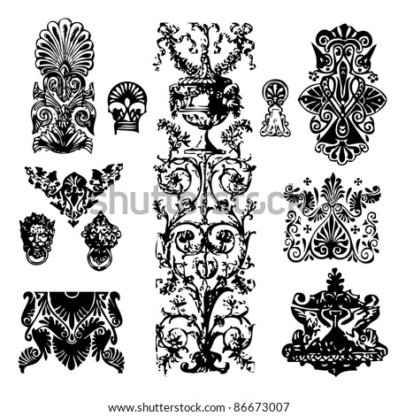 Set of baroque ornaments and  details - stock vector