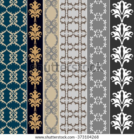 Set of baroque seamless silk wallpaper. Damask print, oriental motifs, neoclassical borders. Vintage patterns collection. Blue and silver shadows palette.  - stock vector
