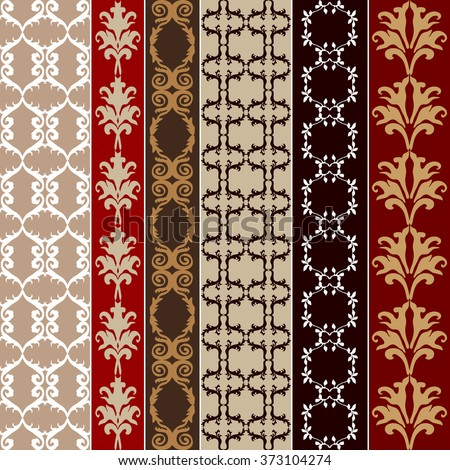 Set of baroque seamless silk wallpaper. Damask print, oriental motifs, neoclassical borders. Vintage patterns collection. Red and golden shadows palette.  - stock vector