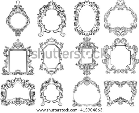 Set Baroque Vintage Decoration Frames Flourishes Stock Vector ...