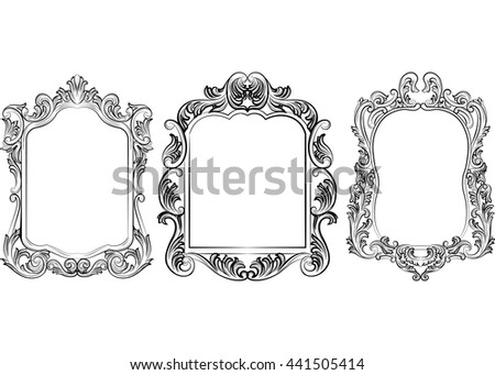 Set of Baroque Vintage Decoration Frames. Victorian Royal Rich Ornaments and Frames. Retro Style Collection for Cards, Invitations, Banner, Poster, Badges, Logotypes, Photos, Placards - stock vector