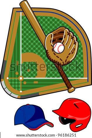Set of baseball equipment - stock vector