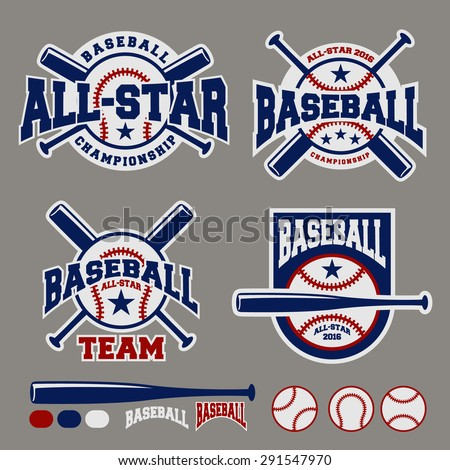 Set of baseball sport badge logo design template and some elements For logos, badge, banner, emblem, label, insignia, T-shirt screen and printing  - stock vector