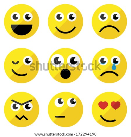 Set of basic emoticons in flat design - stock vector