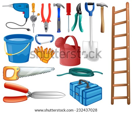 Set of basic tools commonly used at home - stock vector