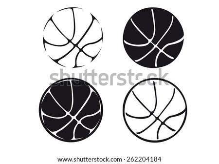 set of basketball balls, silhouette - stock vector