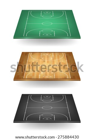 Set of basketball courts in different colours - green, wooden and balck. Top view. Vector EPS10 illustration.