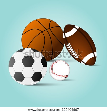 Set of basketball, football, soccer ball, baseball,  background, vector