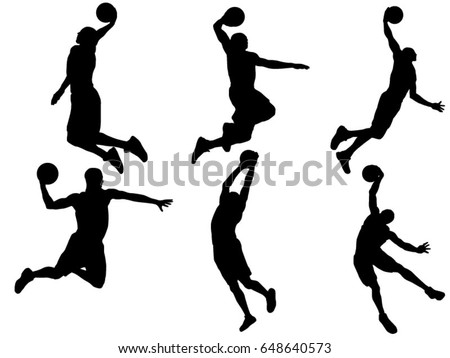 set basketball player dunk silhouette stock vector hd royalty free rh shutterstock com basketball court silhouette vector basketball silhouette vector free