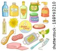 Set of Bath Accessories and Products for Beauty in free-hand style - stock vector