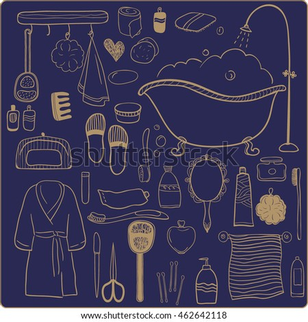 Set of bathroom accessories. Vector hand drawn icons.Clip art for design.