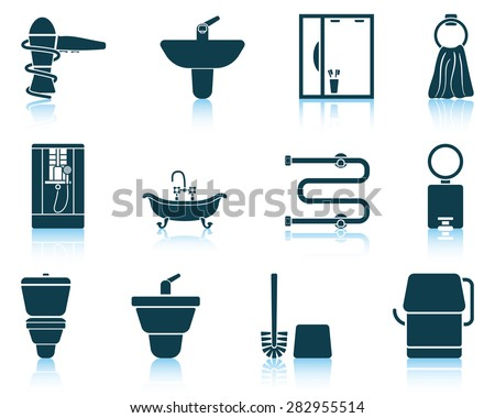 Set of bathroom icon. EPS 10 vector illustration without transparency. - stock vector