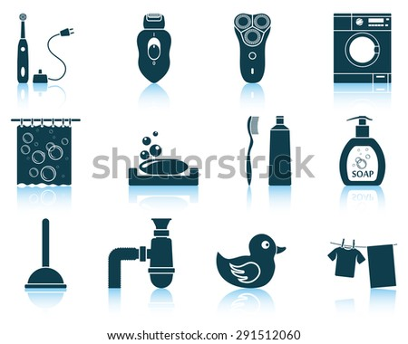 Set of bathroom icons. - stock vector