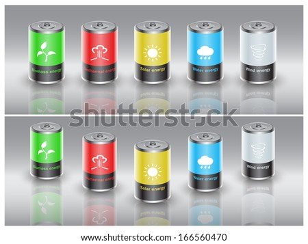 set of batteries charged with renewable energy, vector eps10 illustration - stock vector