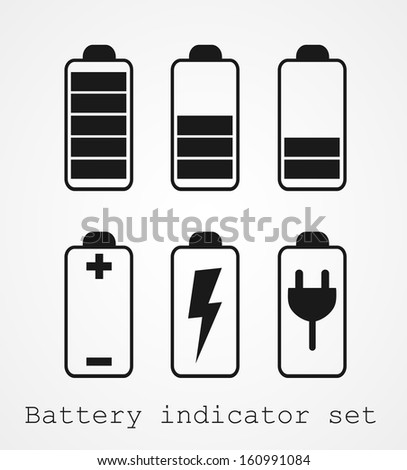 Set of battery charge level indicators - stock vector