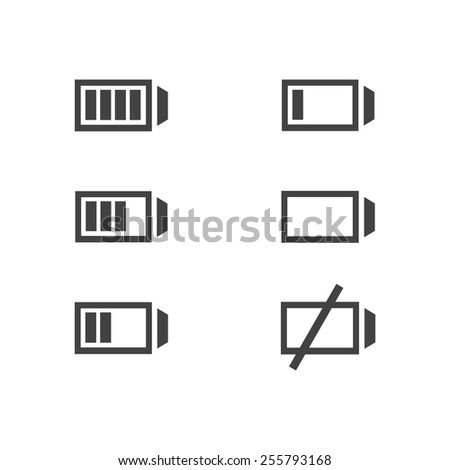 Set of battery charge level indicators icons isolated. Vector illustration. - stock vector