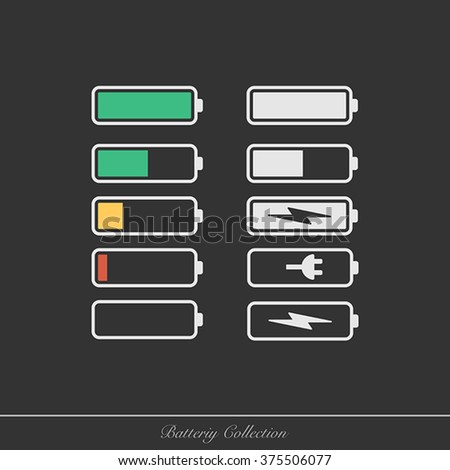 Set of battery charge level indicators. Illustration