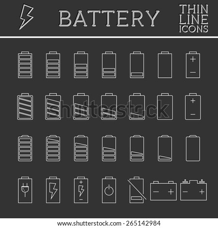 Set of battery charge level indicators. Trendy thin line, outline design. Can be used as buttons, elements in infographics, icons, logo. Vector illustration.