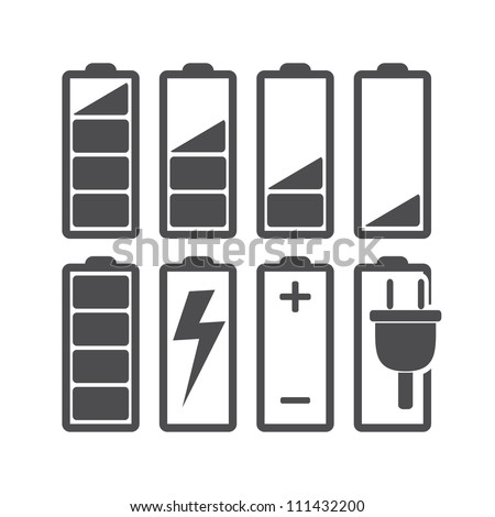 Set of battery charge level indicators. Vector illustration. - stock vector