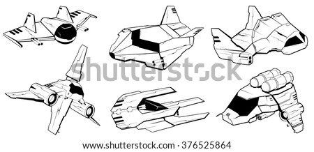 set of battle spaceships. space armed forces. futuristic vehicles. vector illustration