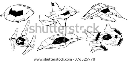 set of battle spaceships. space armed forces. futuristic vehicles. vector illustration - stock vector