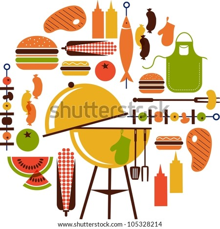 set of bbq objects - stock vector