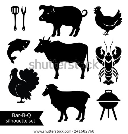 Set of BBQ silhouettes on white background. Could be used as icons.   - stock vector