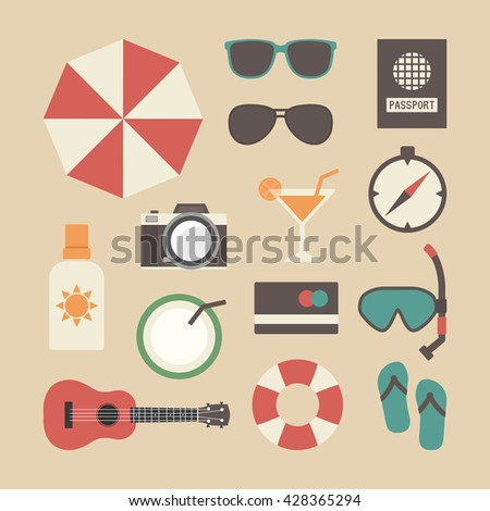 set of beach and travel icon, pastel style - stock vector