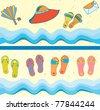 Set of beach seamless borders funny cartoons - stock vector