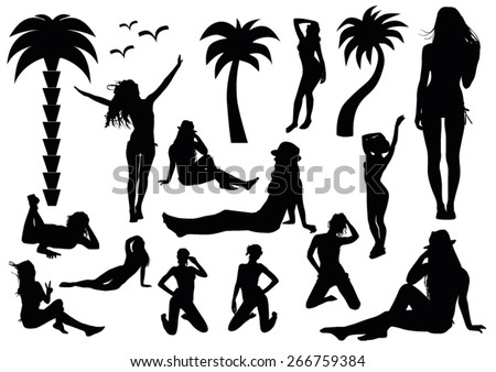 Set of beach silhouettes - stock vector