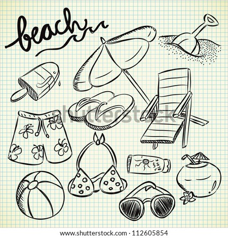 set of beach stuff in doodle style - stock vector