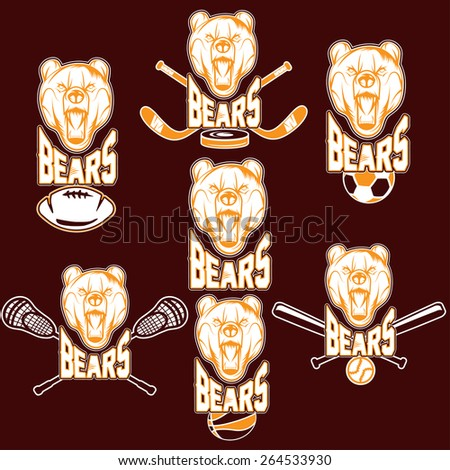 set of bear sports labels - stock vector